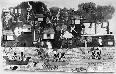 Yucatan Painting - Mexico Mayan Village by Granger