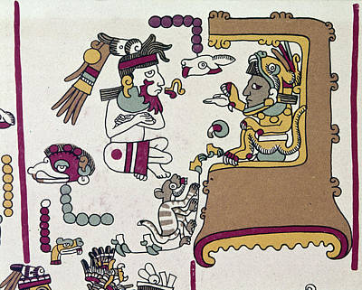 Native American Symbols Painting - Mexico Mixtec Manuscript by Granger
