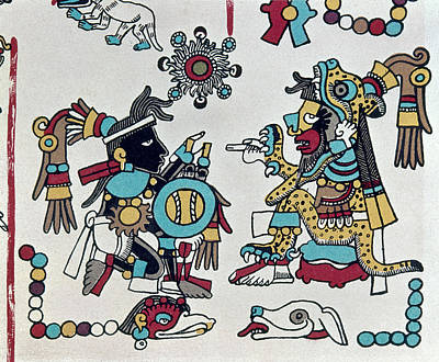 Native American Symbols Painting - Mexico Mixtec Rulers by Granger