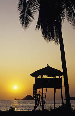 Simple Beauty In Colors Photograph - Mexico, Silhouette Of Beach Bungalow by Bill Schildge