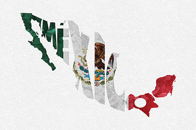 Typography Map Digital Art - Mexico Typographic Map Flag by Ayse Deniz
