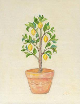 Pruning Painting - Meyer Lemon Tree by Annamarie Lombardo