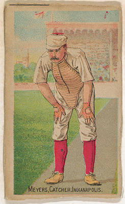 Baseball Cards Drawing - Meyers, Catcher, Indianapolis by D. Buchner & Co., New York