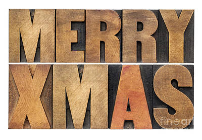 Meyy Xmas In Wood Type Art Print