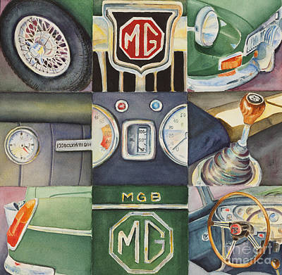 Cars Wall Art - Painting - Mgb Car Collage by Karen Fleschler