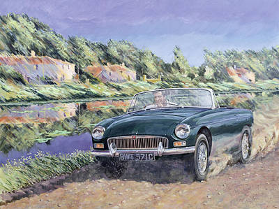 Windy Hill Painting - Mgb By A French Canal by Clive Metcalfe