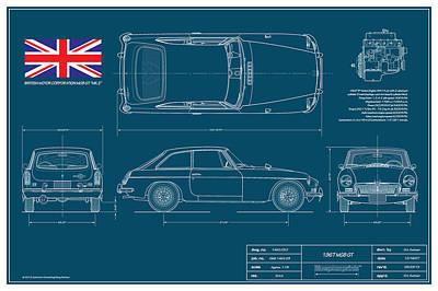 Import Car Digital Art - Mgb Gt Blueplanprint by Douglas Switzer