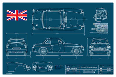 Chrome Bumper Drawing - Mgb Works Racer Blueplanprint  by Douglas Switzer