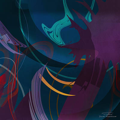 Green Abstracts Drawing - Mgl - Abstract Twirl 01 by Joost Hogervorst