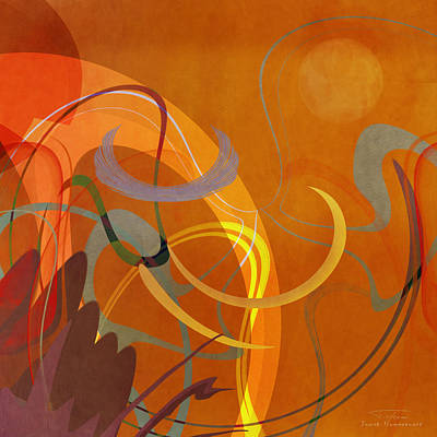 Green Abstracts Drawing - Mgl - Abstract Twirl 05 by Joost Hogervorst