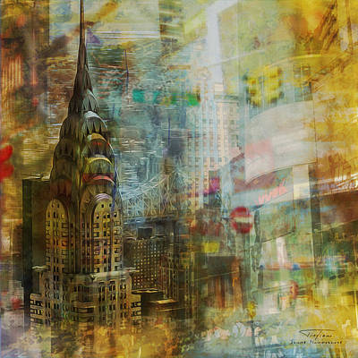 Times Square Drawing - Mgl - City Collage - New York 04 by Joost Hogervorst