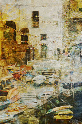 Harbour Drawing - Mgl - Gold Mediterrane 01 by Joost Hogervorst