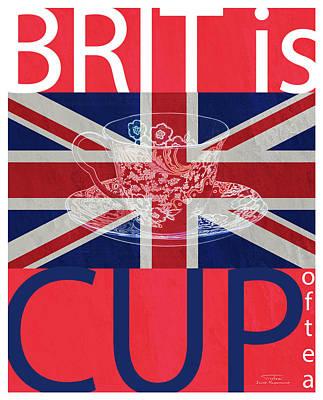 Blue Cup Of Tea Drawing - Mgl - Travel Brit Is 04 by Joost Hogervorst