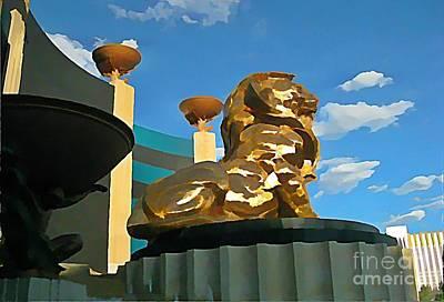 Art In Halifax Digital Art - Mgm Lion In Las Vegas by John Malone