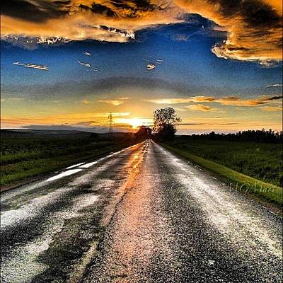 Sunset Wall Art - Photograph - #mgmarts #driving #lonely #instamood by Marianna Mills