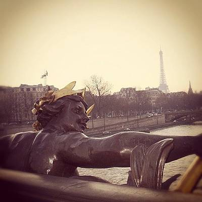 #mgmarts #france #paris #statue #bridge Print by Marianna Mills