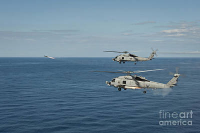 Soap Suds - Mh-60r Sea Hawk Helicopters Launch by Stocktrek Images