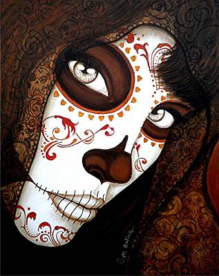 Painted Face Painting - Mi Amor Detras Del Velo 2 by Al  Molina