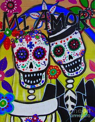 Painting - Mi Amor Dia De Los Muertos Wedding by Pristine Cartera Turkus