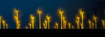 Glowing Photograph - Mi3 Wind Turbines 1 by Scott Campbell