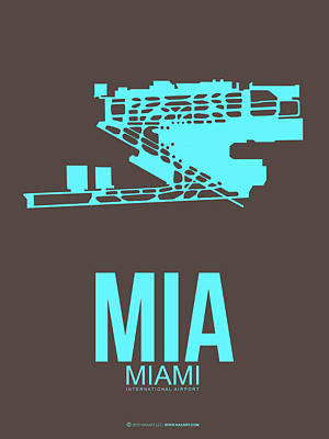Town Mixed Media - Mia Miami Airport Poster 2 by Naxart Studio