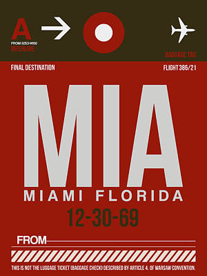 Town Mixed Media - Mia Miami Airport Poster 4 by Naxart Studio