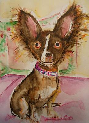 Four Animal Faces Painting - Mia The Little Diva by Elaine Duras