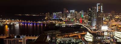 Miami After Dark II Skyline  Art Print by Rene Triay Photography