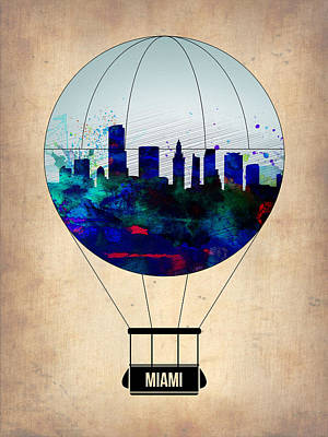 Miami Air Balloon Art Print by Naxart Studio