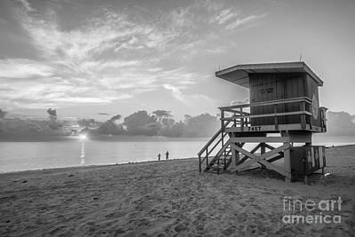 Day Break Photograph - Miami Beach - 74th Street Sunrise - Lifeguard Hut - Black And White by Ian Monk