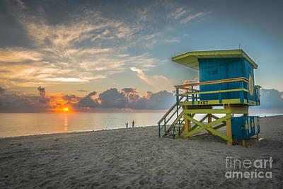 Day Break Photograph - Miami Beach - 74th Street Sunrise - Lifeguard Hut - Hdr by Ian Monk