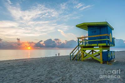 Day Break Photograph - Miami Beach - 74th Street Sunrise - Lifeguard Hut by Ian Monk