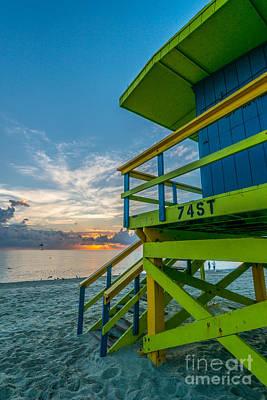 Day Break Photograph - Miami Beach - 74th Street Sunrise - Lifeguard Hut - Portrait by Ian Monk