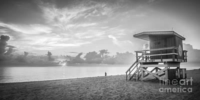 Miami Beach - 74th Street Sunrise - Panoramic - Black And White Art Print by Ian Monk