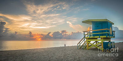 Miami Beach - 74th Street Sunrise - Panoramic Art Print by Ian Monk