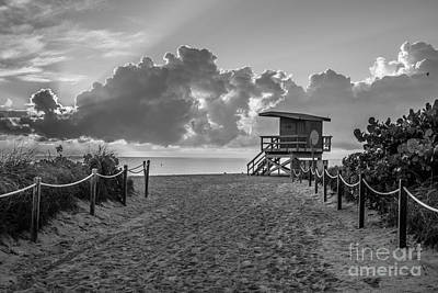 Miami Beach Entrance Sunrise - Black And White Print by Ian Monk