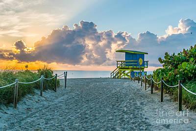 Day Break Photograph - Miami Beach Entrance Sunrise  by Ian Monk