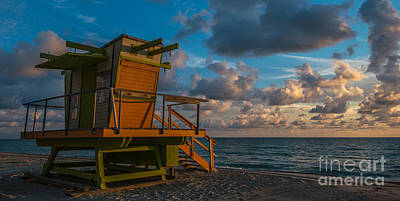 Miami Beach Lifeguard Station Glows From The First Light Of Day - Panoramic Art Print by Ian Monk