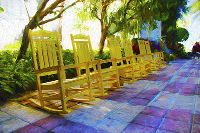 Photograph - Yellow Rocking Chairs - Miami Beach Series 09 by Carlos Diaz