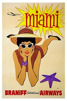 Airways Mixed Media - Miami Braniff International Airways by David Wagner
