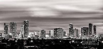Miami City Skyline Black And White Art Print