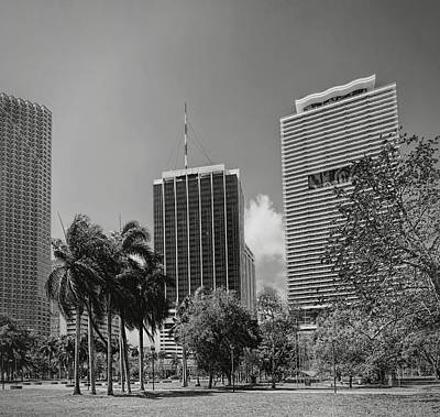 Photograph - Miami Cityscape  Bw by Rudy Umans