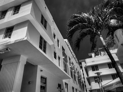 Miami Beach Photograph - Miami - Deco District 008 Bw by Lance Vaughn