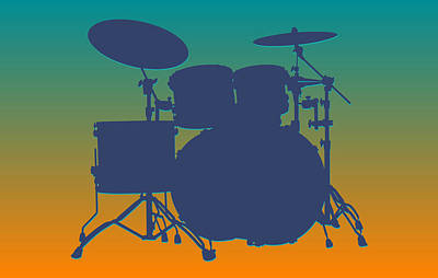Miami Dolphins Drum Set Print by Joe Hamilton