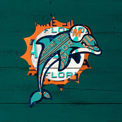 Dolphin Wall Art - Mixed Media - Miami Dolphins Football Team Retro Logo Florida License Plate Art by Design Turnpike