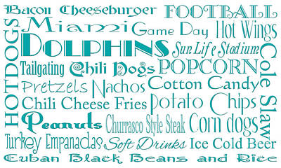 Digital Art - Miami Dolphins Game Day Food 1 by Andee Design