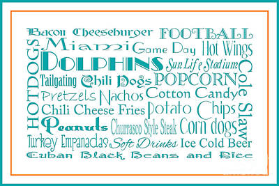 Digital Art - Miami Dolphins Game Day Food 3 by Andee Design
