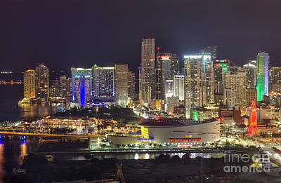 Miami Skyline Photograph - Miami Downtown Skyline American Airlines Arena by Rene Triay Photography