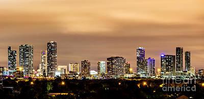 Miami Downtown Skyline Winter Sky Art Print by Rene Triay Photography