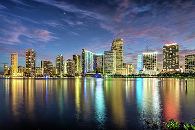 Cityscapes Photograph - Miami Florida by Sky Noir Photography By Bill Dickinson